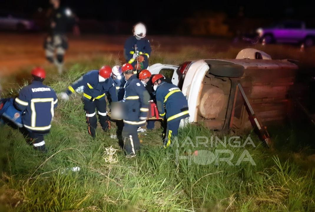 foto de Capotamento na BR-376 em Mandaguaçu deixa duas pessoas feridas